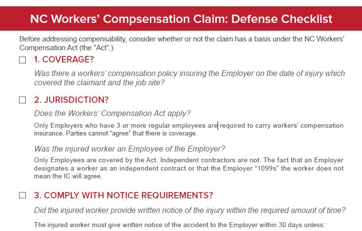 Affirmative Defenses to NC Workers' Comp Checklist Preview